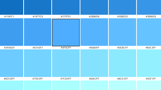 Color Chart For Blue Images Design Project