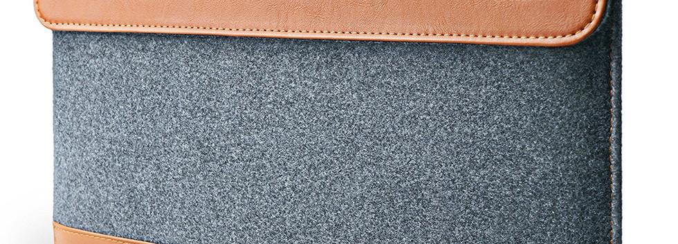 Felt & PU Leather Bag with Accessory Pocket