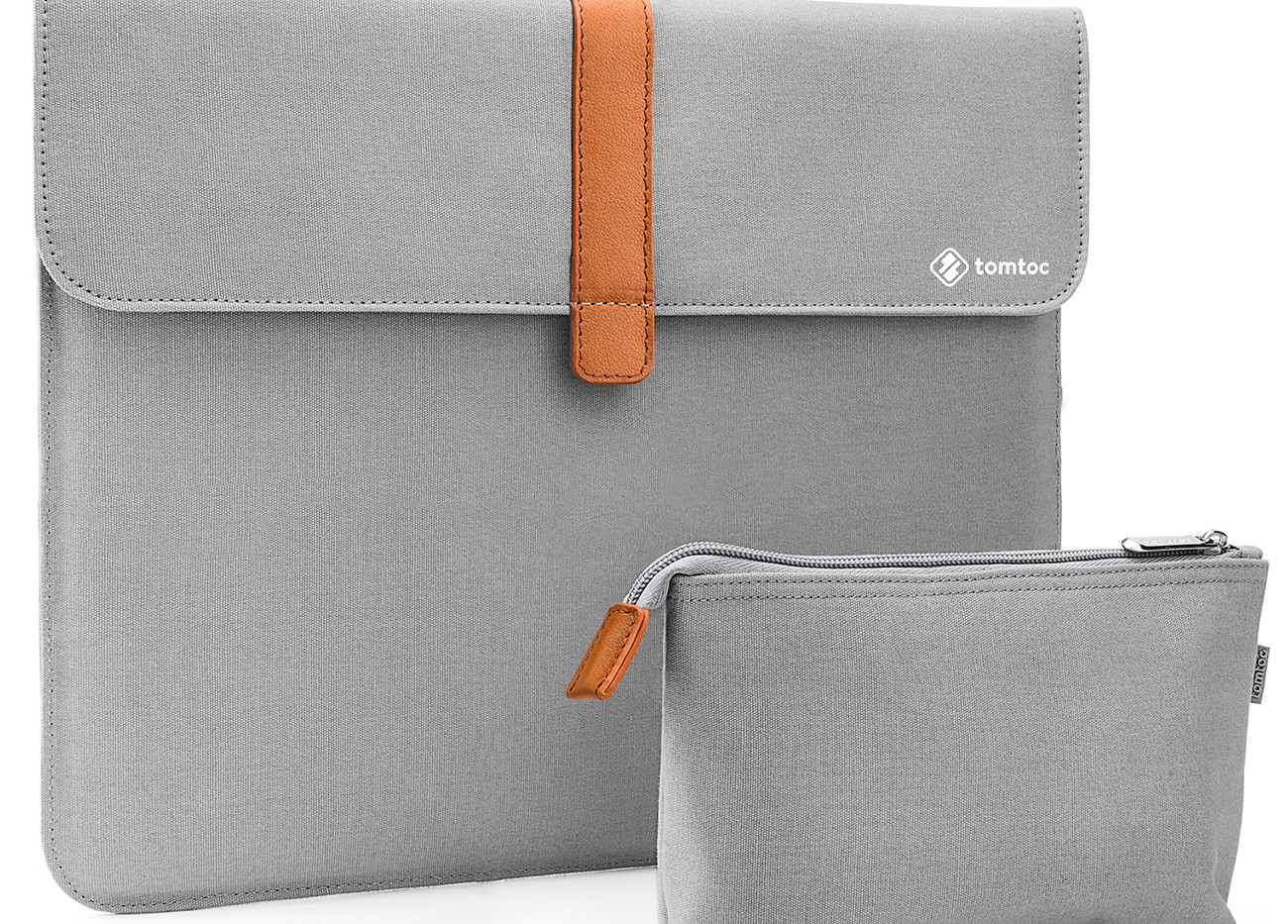 Envelope Sleeve with Accessory Pouch. Light Grey