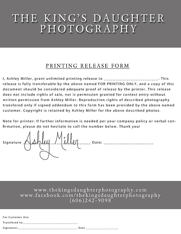 thekingsdaughter – Print Release Form