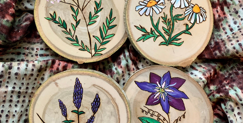 Wood Burned and Painted Coaster Set