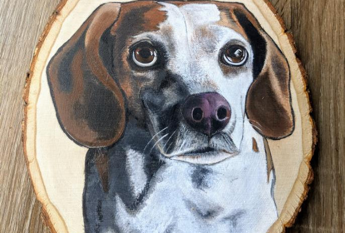 Custom Wood Pet Portrait, Large