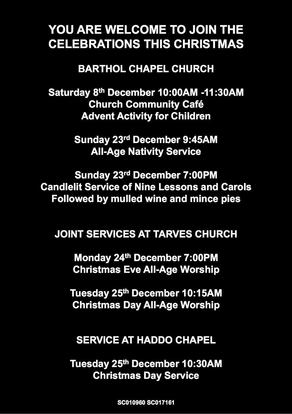 Barthol Chapel Church Christmas invitati