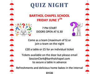 Barthol Chapel Inter-Kirk Quiz - Friday 7th June.