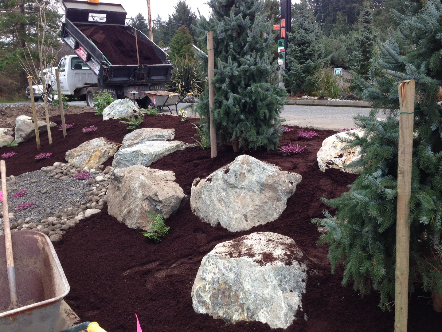 Landscape rock in gardens with dry stream and plants