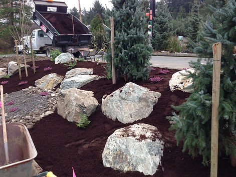 Newly mulched and planted terraced rock garden featuring a dry stream.