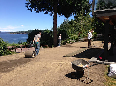 Installing a new seeded lawn.