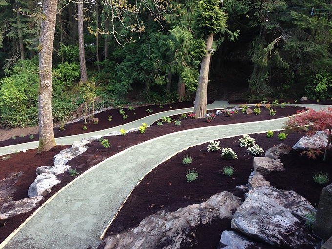 Curved pathway in newly mulched and planted terraced rock garden landscape.