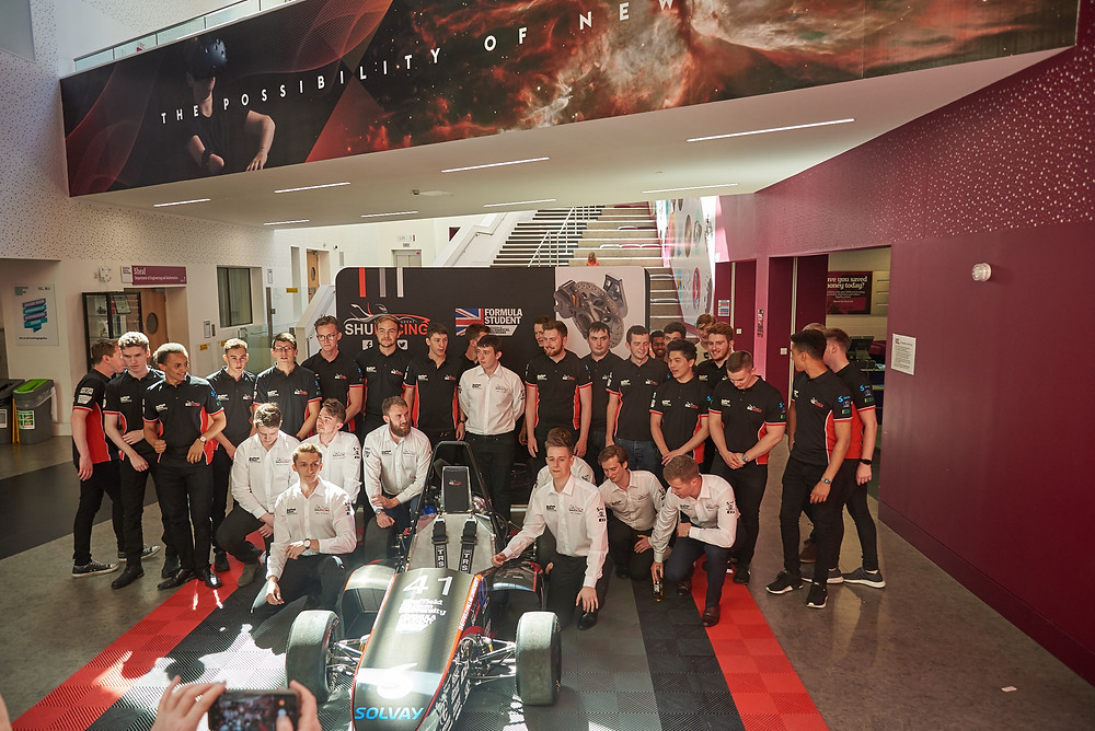 The SHU Racing Team launch their 2018 car at Sheffield Hallam University