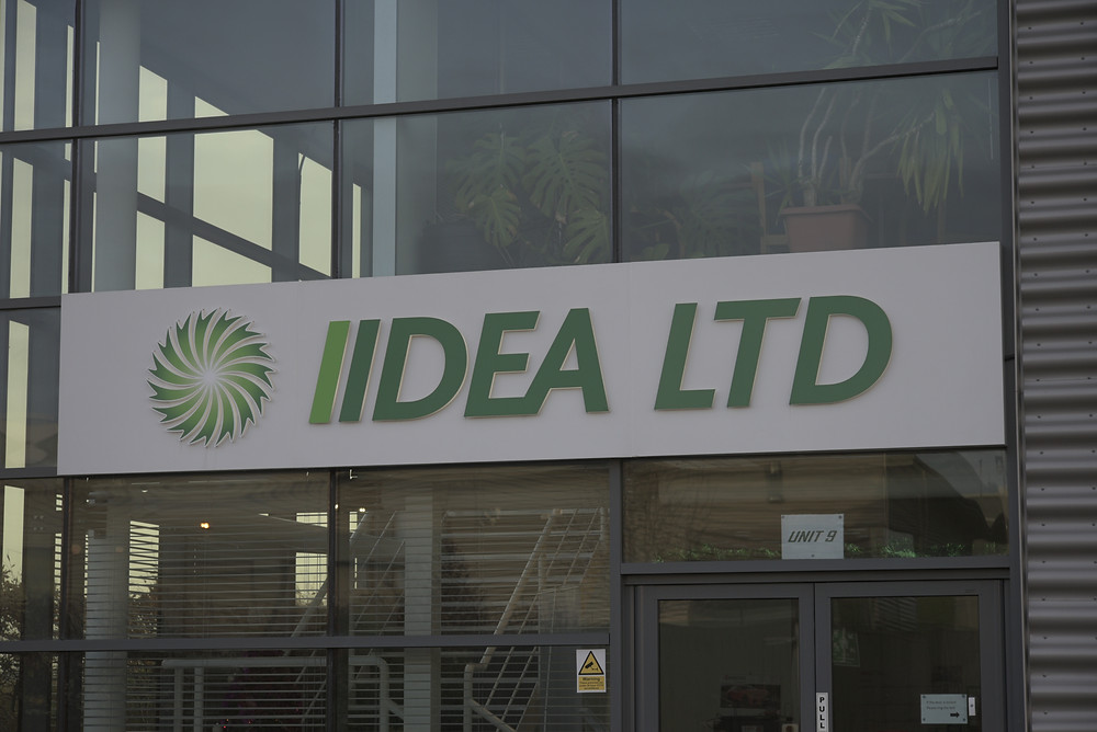 Newly restored sign with LED lighting on the front of the IIDEA building