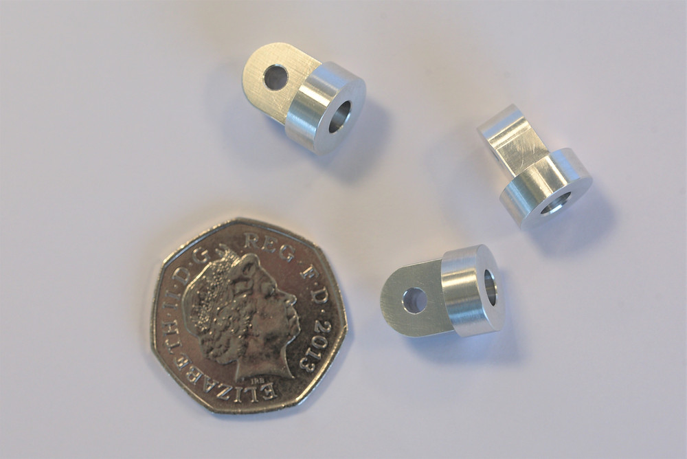 Three components made in an aluminium alloy illustrate quite well that we are happy to make items to the smaller end of the component size range