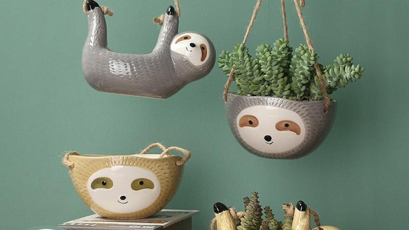 HOT Sloth Flower Pot Animal Plant Pot Hanging Planter Ceramic Pots for Plants