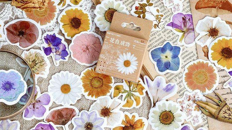 46pcs/Set Autumn Flower Sticker Diy Scrapbooking Diary Planner Decoration