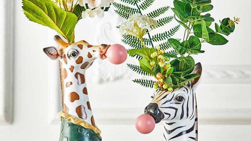 Resin Succulent Plants Flower Planter Plant Pot Vases Basket Cartoon Animal Head