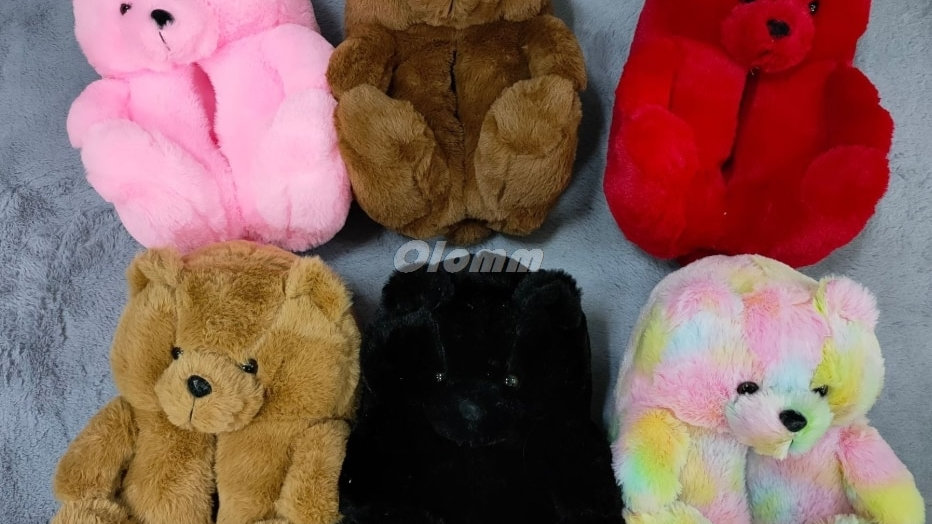Plush Teddy Bear House Slippers Brown Women Home Indoor Soft  Slippers Women  W