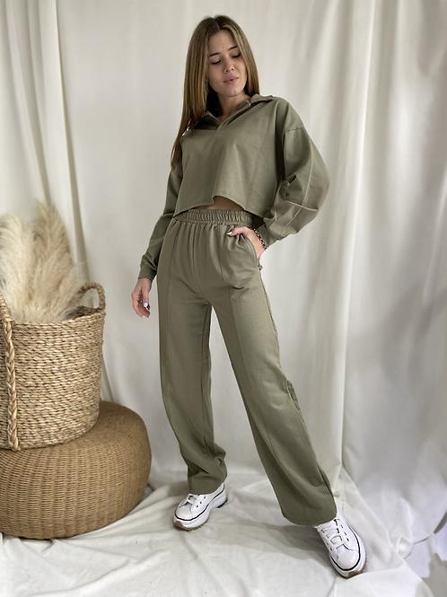 Pantalon rustico recto con recortes Brisa