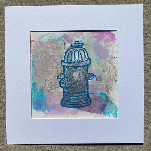 silver fire hydrant