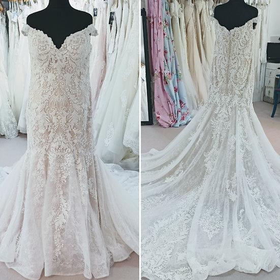 Size 20 blush and ivory lace fit and flare off-the-shoulder wedding dress