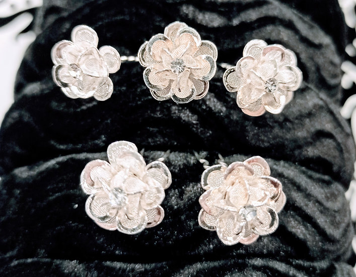 Silver or gold flower hair pins