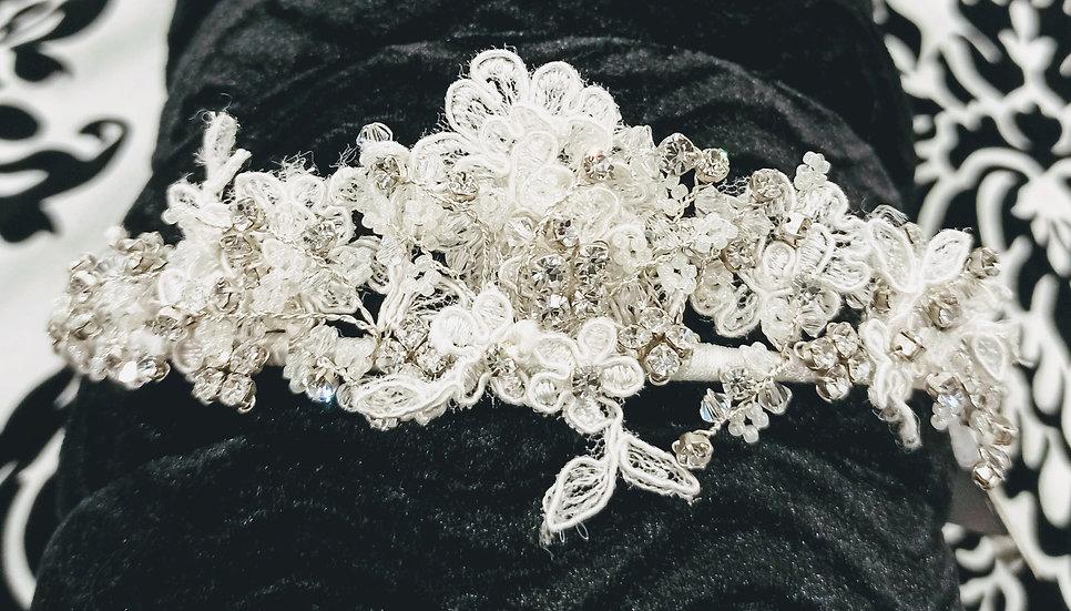 Pearl, diamante and lace alice band