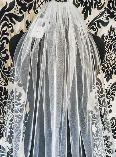 Long ivory glitter shimmering veil