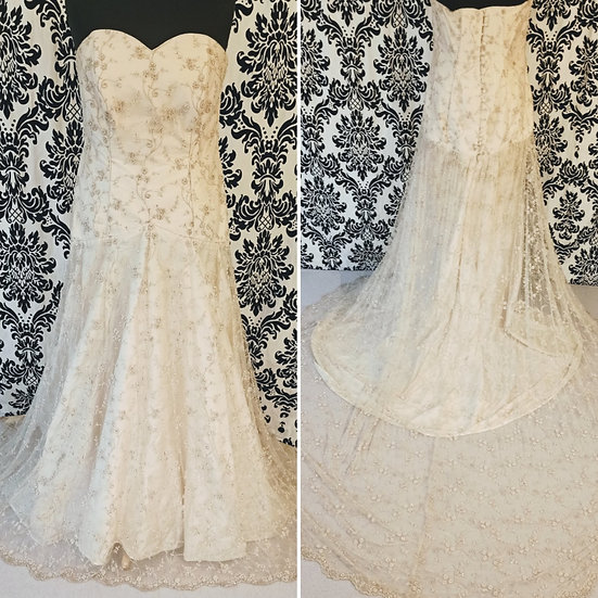Size 20 champagne silk and lace fit & flare wedding dress
