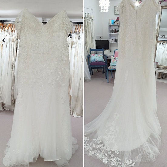 Size 30 Millie Grace ivory lace sparkly fit and flare wedding dress