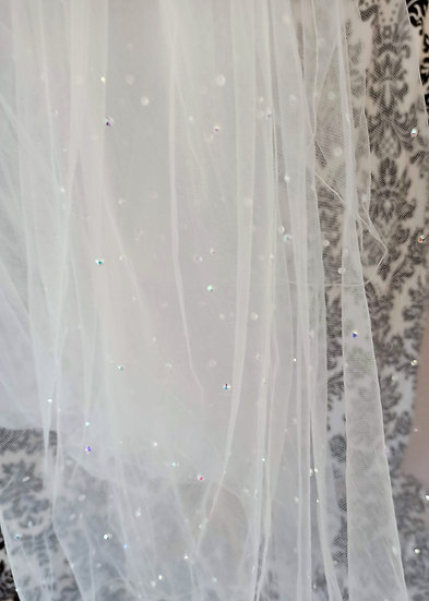 Ivory long 2-layer veil with sparkles 260cm approx