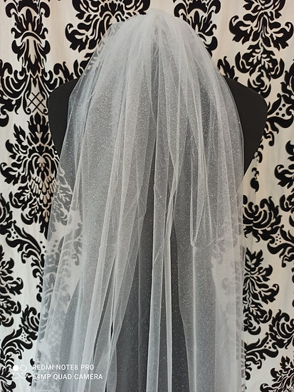 Floor length shimmering veil