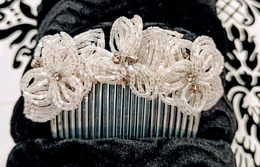 Bead and diamante hair comb