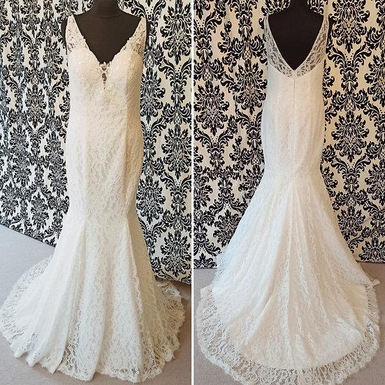 Size 12 Adela Designs ivory lace fit & flare wedding dress