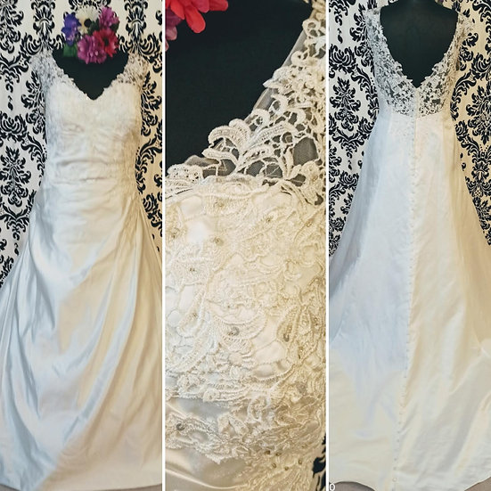 Ivory satin and lace a-line wedding dress size 24