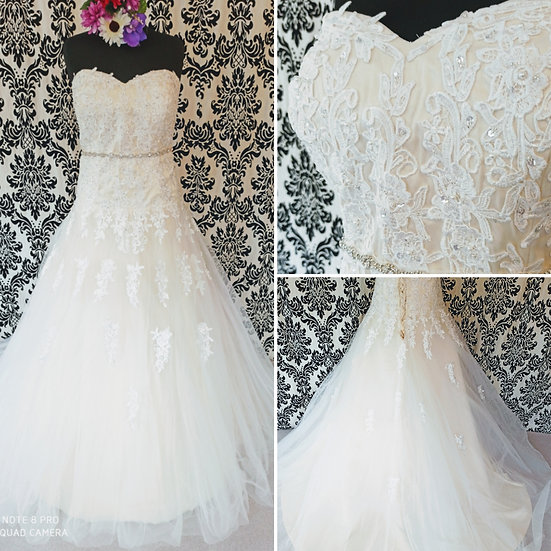 Can be ordered in 18 to 28, blush or ivory,  lace A-line wedding dress