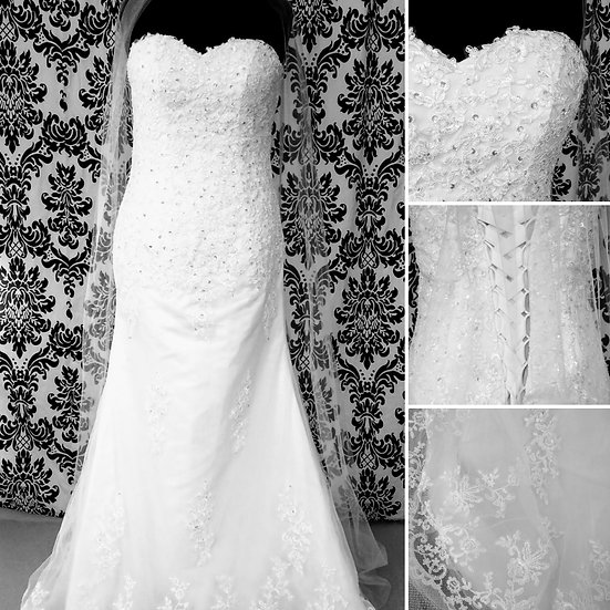 Size 14 white lace fit & flare wedding dress