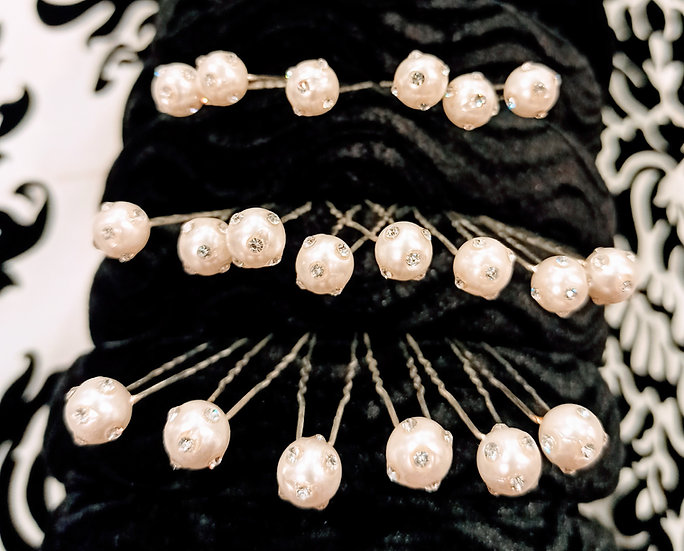 Pearl and diamante hair pins