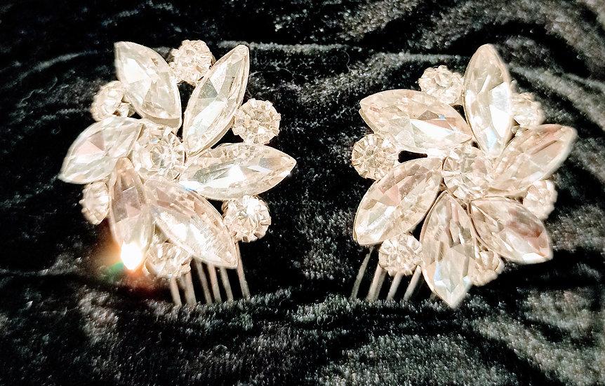 Pair of diamante flower hair pins