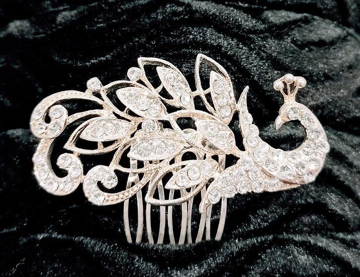 Diamante peacock hair comb