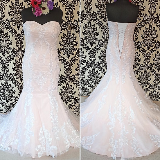 Size 16 blush pink fit & flare wedding dress (available in ivory & other sizes)