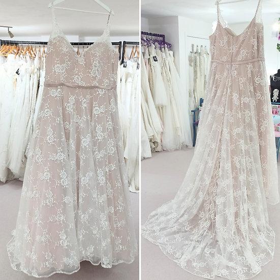 Size 28 Millie Grace Sasha ivory lace over blush A-line wedding dress