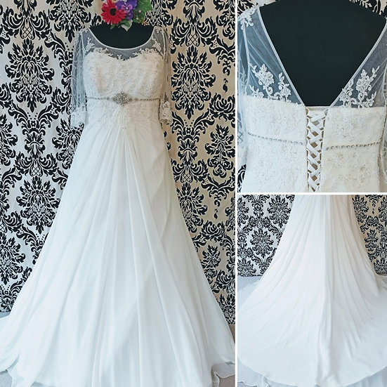 Size 22 Sonsie chiffon A-line wedding dress with sleeves
