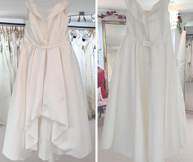 Size 26 Gaia 'Eleanor' satin hi/low hem wedding dress