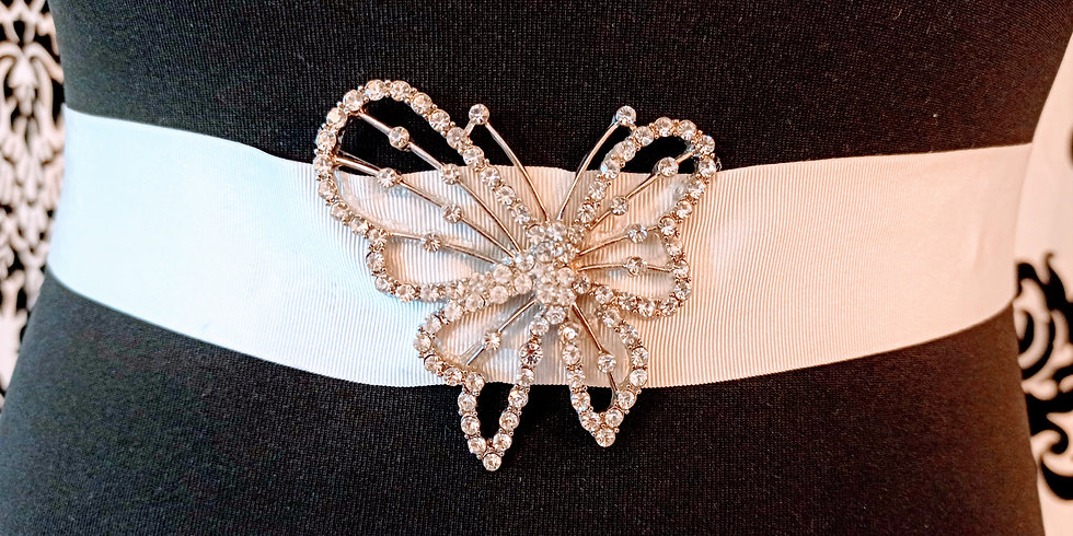 Diamante butterfly on ivory grossgrain sash