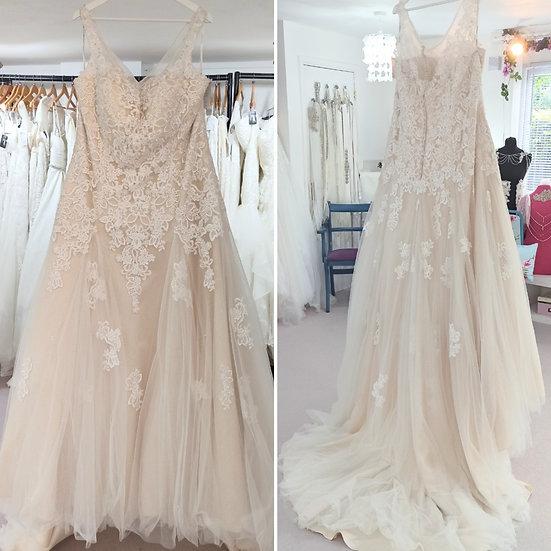 Size 26 Gaia 'Luciana' champagne lace A-line wedding dress