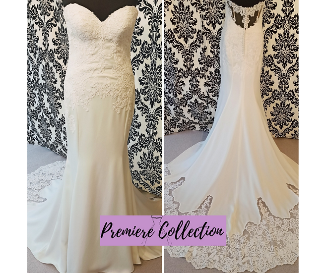Size 12 Essence of Australia lace & crepe illusion back wedding dress