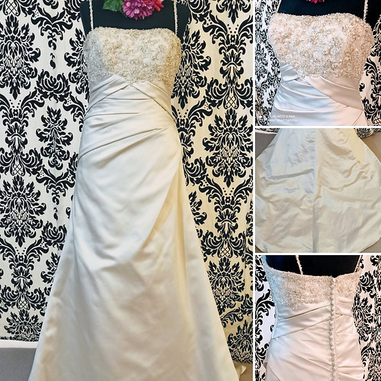 Benjamin Roberts oyster satin slim a-line wedding dress size 10