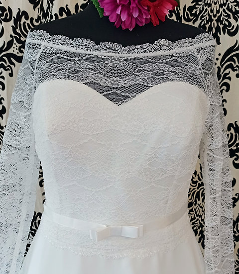 Size 18 Bianco Evento lace bardot over-top (can be ordered in other sizes)
