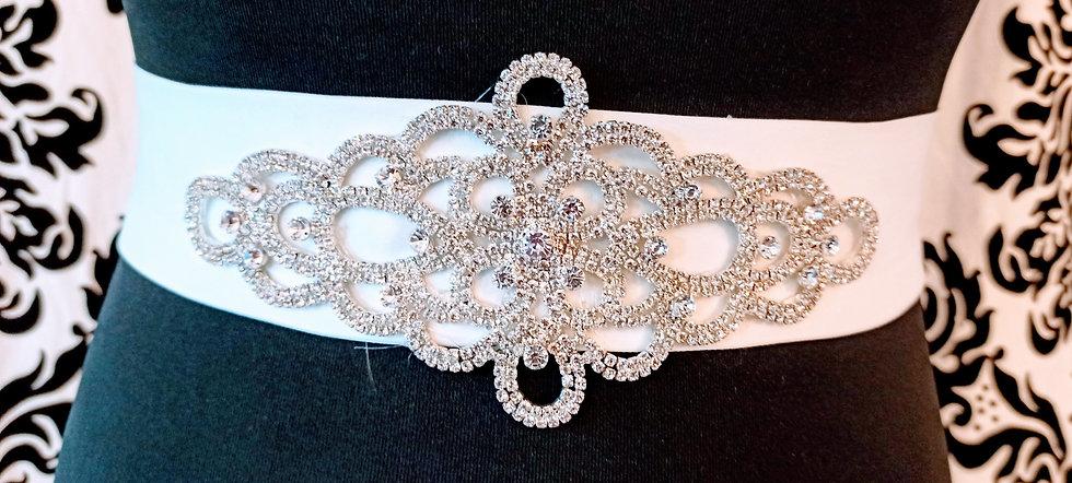 Diamante applique on ivory satin sash