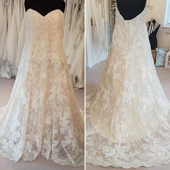 Size 26 Enzoani blush and ivory lace A-line wedding dress