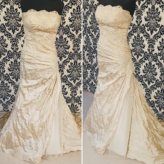 Size 10/12 sample champagne taffeta & tulle fit & flare wedding dress