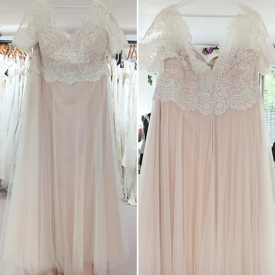 Size 28 Millie Grace 'Mia' ivory lace over rum pink A-line wedding dress